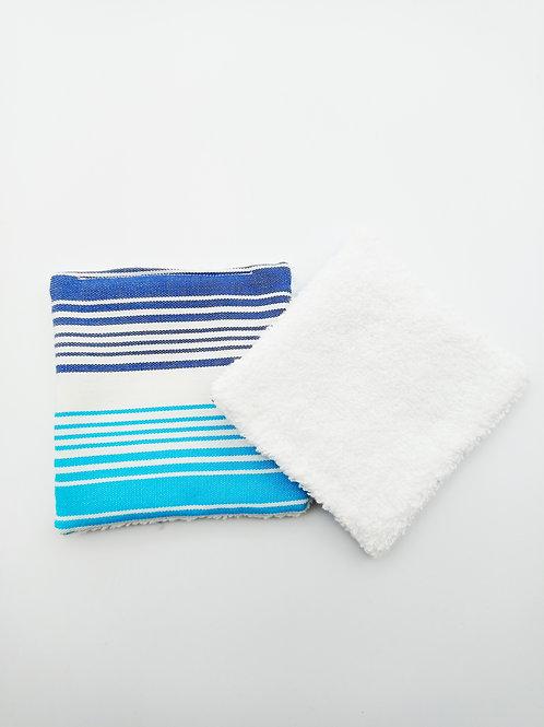 Duo lingettes démaquillantes rayées bleu