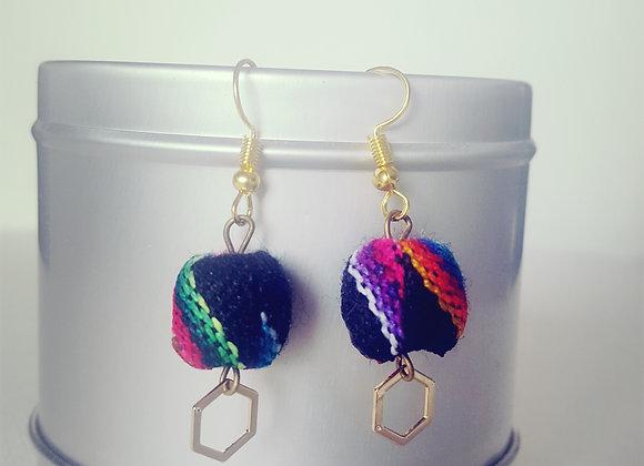 Boucles d'oreilles latina noir & colorées