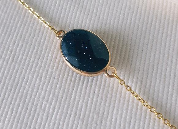 Bracelet plaqué or blue sand stone