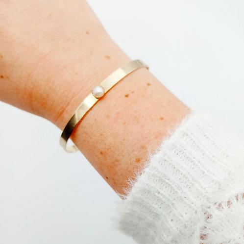 Bracelet jonc doré à l'or fin - nacre