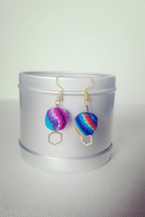 Boucles d'oreilles latina bleu clair & colorées