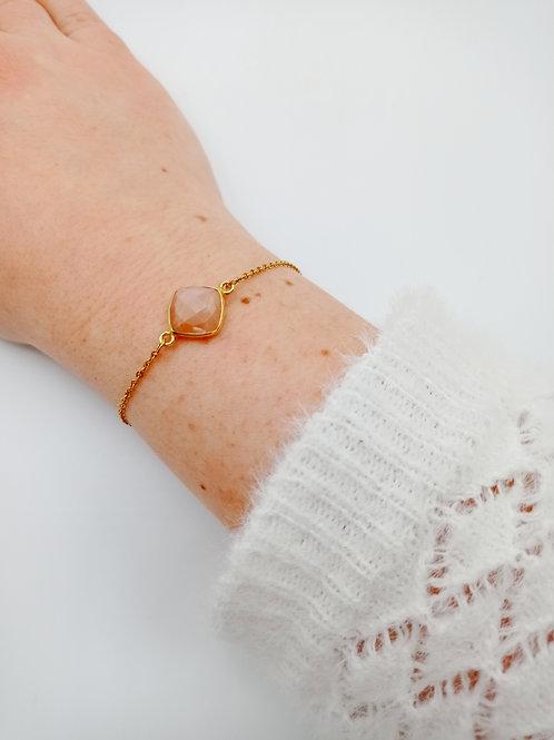 Bracelet plaqué or - cornaline
