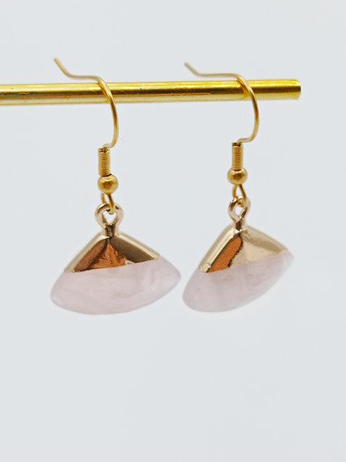 Boucles d'oreilles plaqué or - Evantailles Quartz Rose
