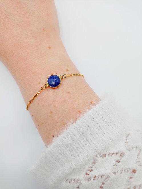 Bracelet plaqué or - lapis lazuli
