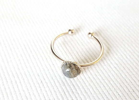 Bague plaqué or - Labradorite