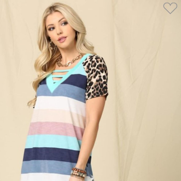 Celeste multi mint & leopard color block top