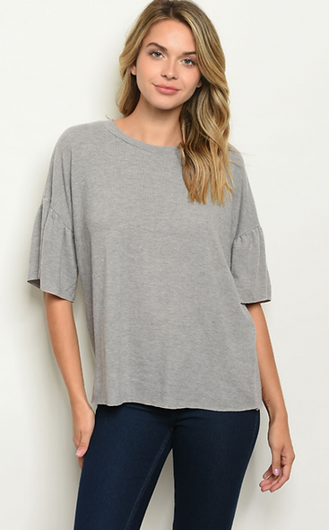 Lightweight grey sweater ruffle sleeve