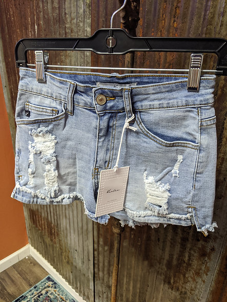 KanCan destroyed light denim shorts
