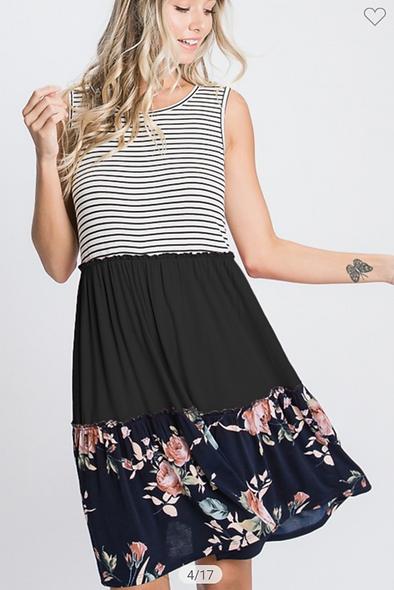Heimish navy black color block  floral dress