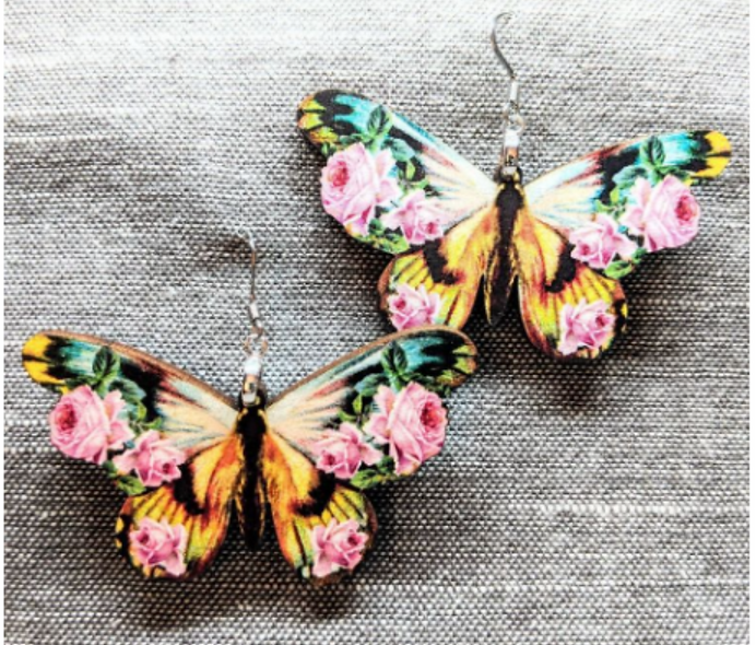 Large wooden floral butterfly earrings