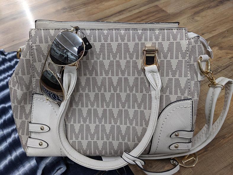 M beige handbag