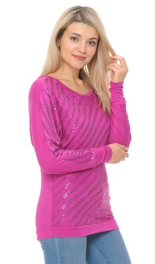 VO thin pink sequin longsleeve
