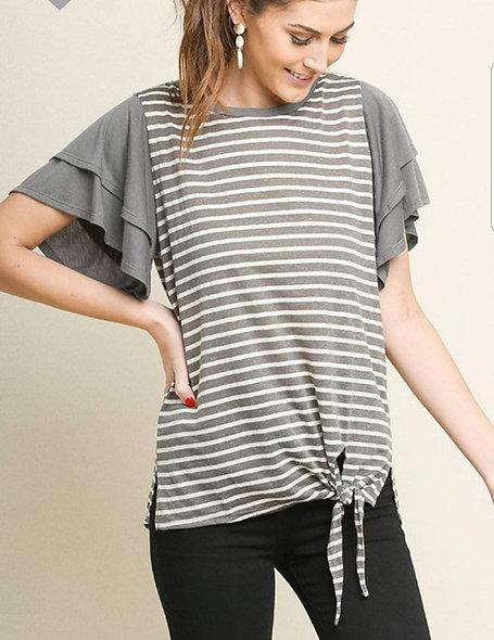 Grey ruffle sleeve