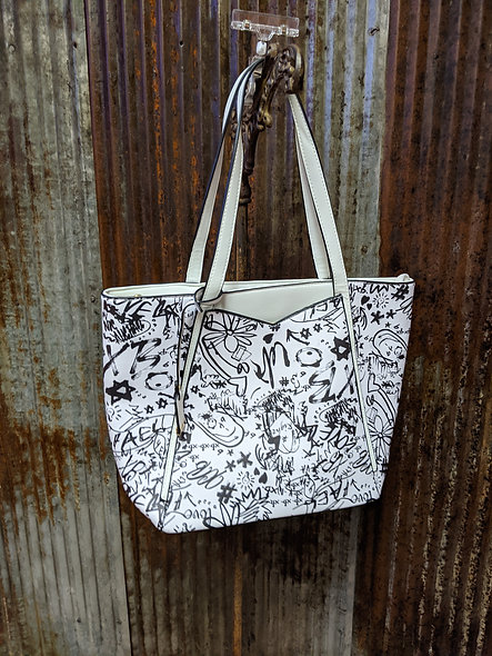 Inspired scribble design purse BLACK OR WHITE