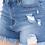 "Thumbnail: Indigo Stitch  ""Kandace""  distressed medium blue denim shirts"