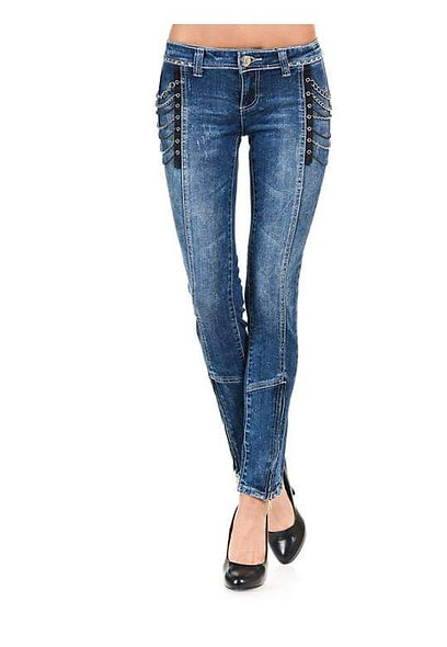 VO Lo-rise denim with chain embellishments