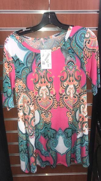 Pink Bali design silky top