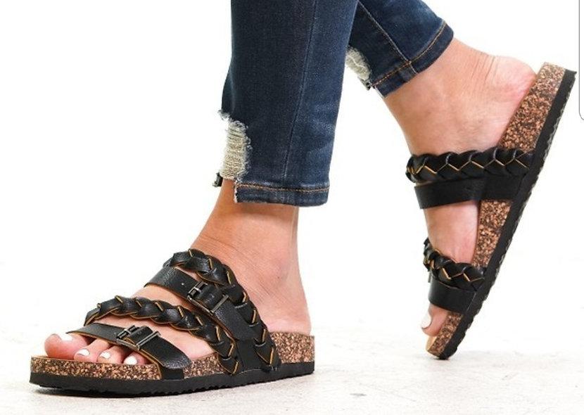 Brown or black  Braided boardwalk sandals