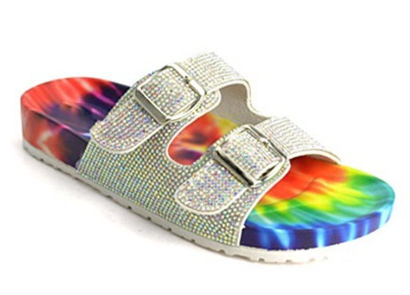 Blinged Tie dye sandals