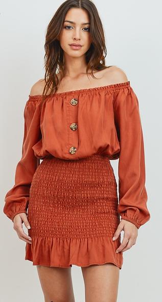 Rust off the shoulder dress