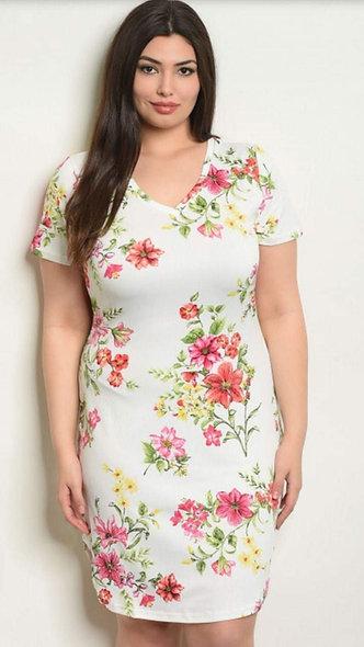 Plus white floral dress #1500
