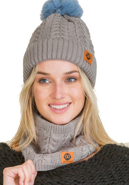 Fleece lined hat & neck cowl / facemask set