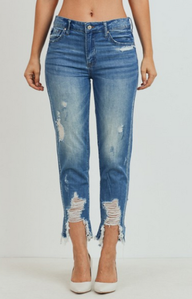 Tricot high rise girlfriend jeans