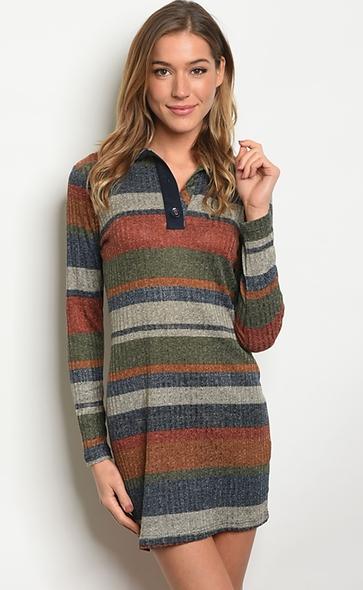 Earthy striped dress