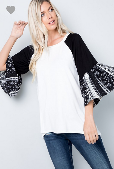 Ivory with black pattern bell sleeves
