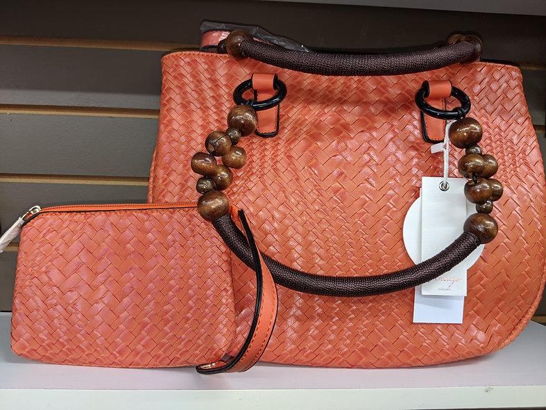 VIRAGO bag Co. Burnt orange weave bag & wallet