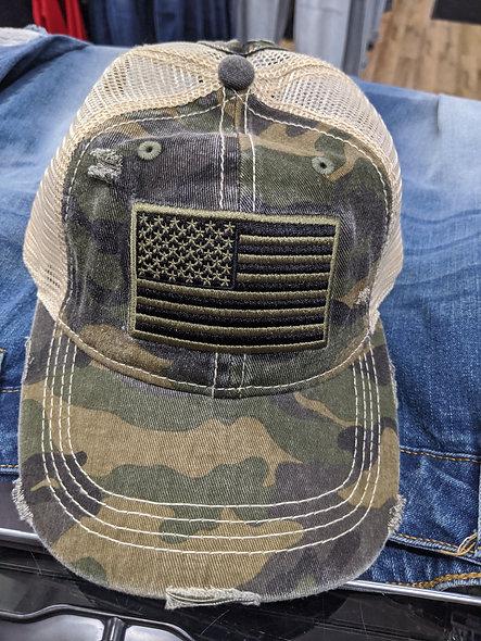 CC flag camo bun/ponytail hat