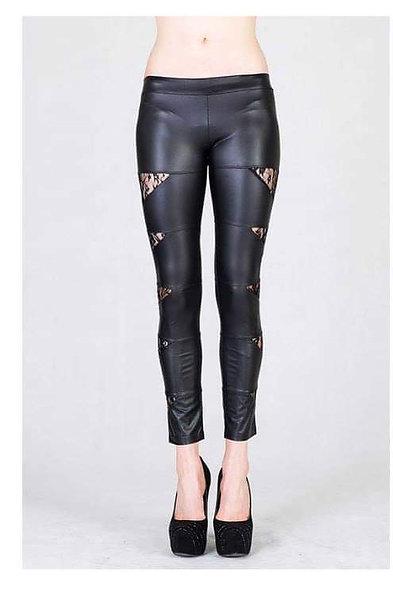 Black leather/ lace leggings