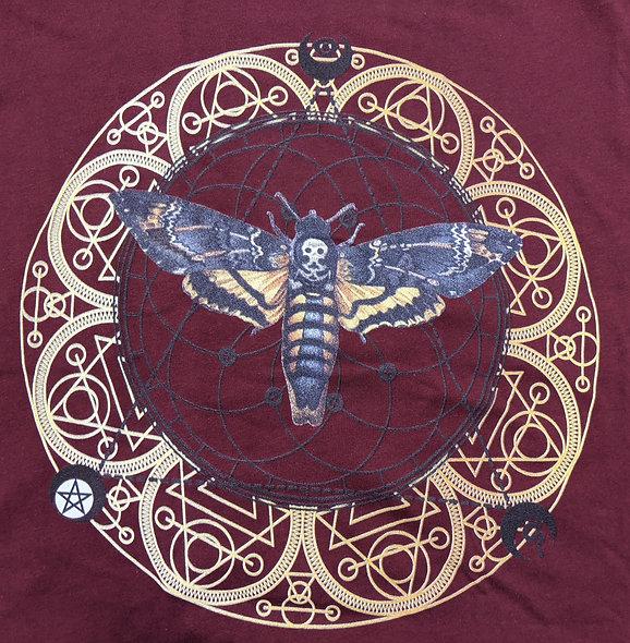 Death moth Mandala  on burgundy bella canvas tee