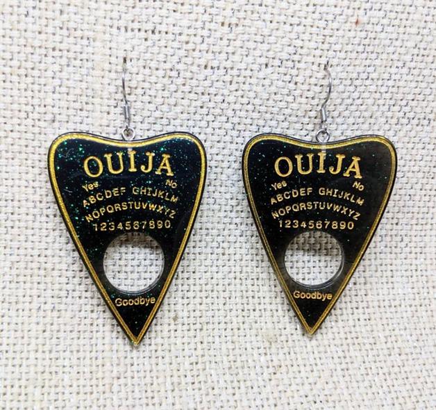 Ouija wooden earrings