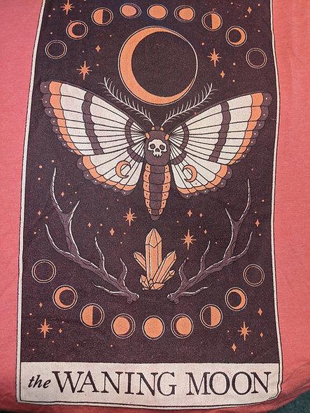 Waning Moon death moth on red heathered bella canvas tee