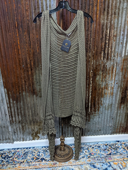 Olive hi lo crocheted cardigan one sz