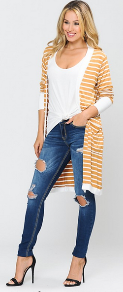 Striped Cardigan elastic band sleeve