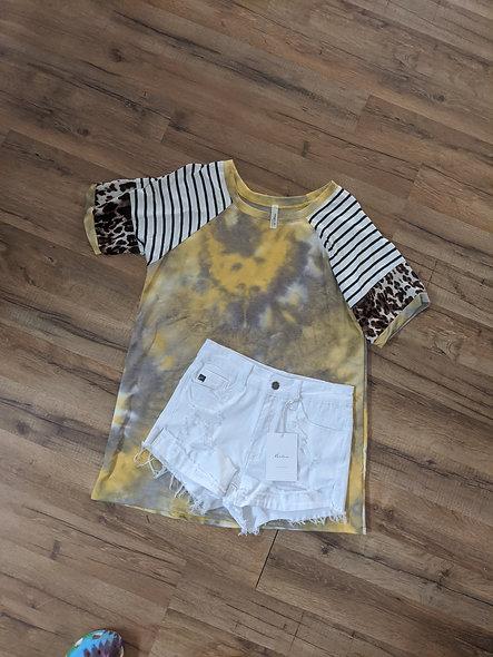 My Story mustard tie dye/leopard top