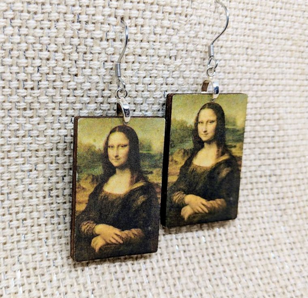 Mona lisa wooden earrings