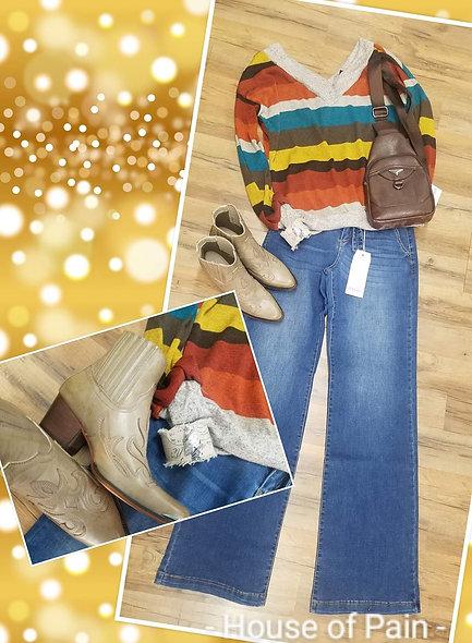Lightweight sweater multi color stripe