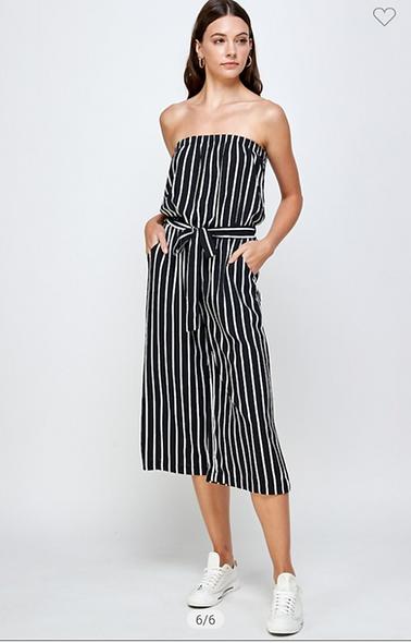 Sheer Stripe strapless jumpsuit
