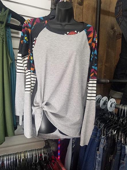 Grey stripe & Aztec sleeve