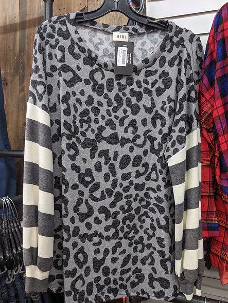 Grey white leopard & stripes