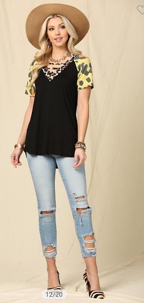 Celeste color works leopard sleeve top
