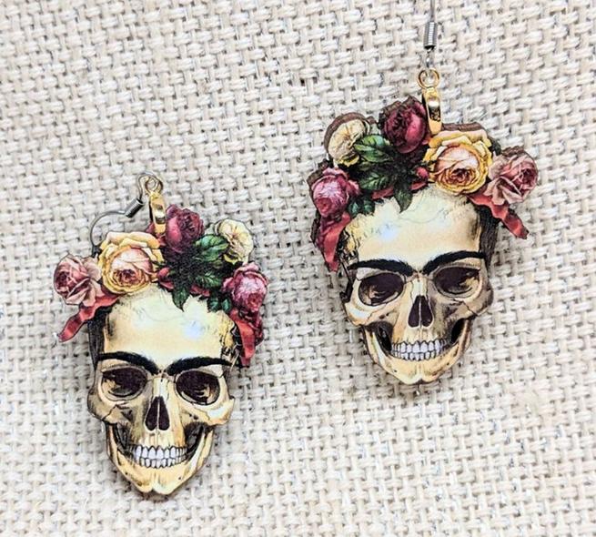 Skulls n Roses wooden earrings