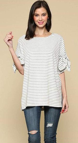 White with grey stripes