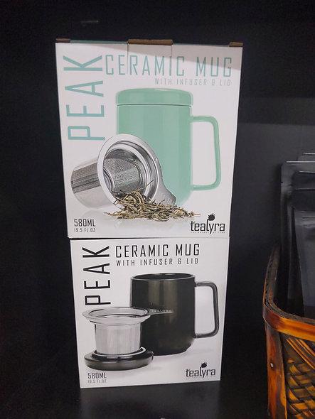 Tealyra peak ceramic mug with infuser & lid