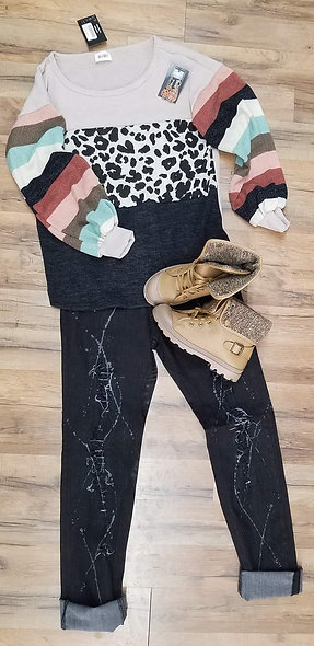 Color block oatmeal,leopard & black with multi stripe sleeve