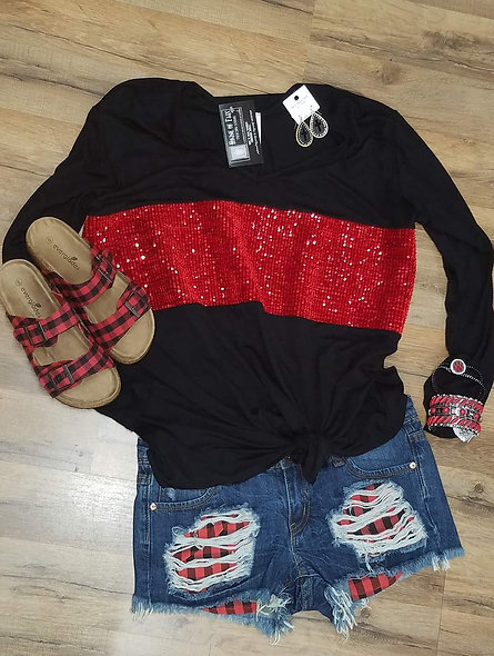 Red sequined color block