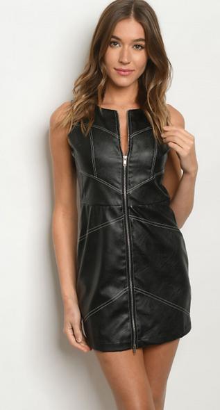 HAHA black fullzip dress / vest